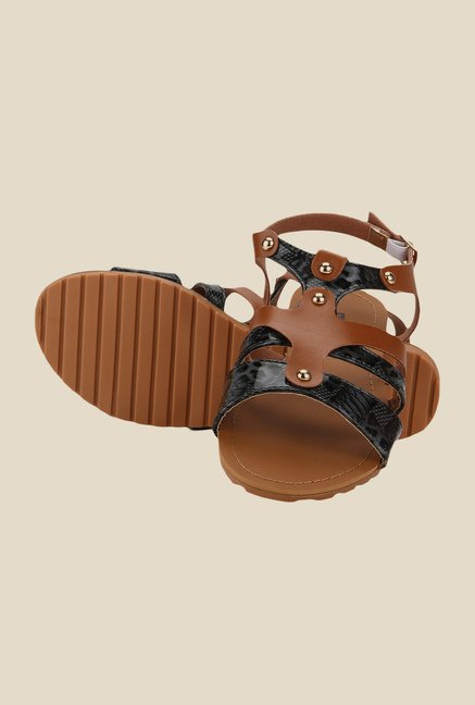 Yepme Brown & Black Back Strap Sandals