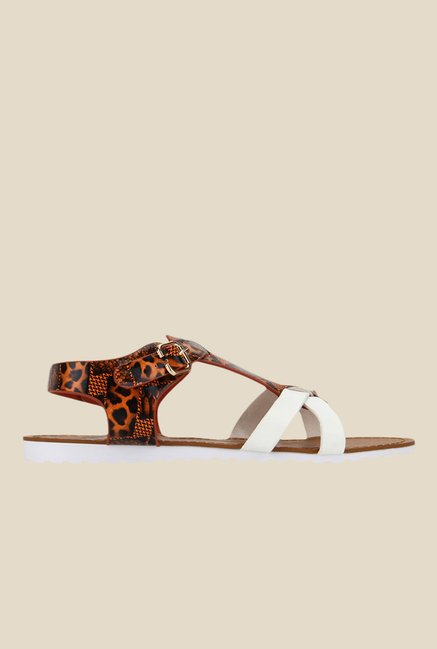 Yepme White & Orange Ankle Strap Sandals