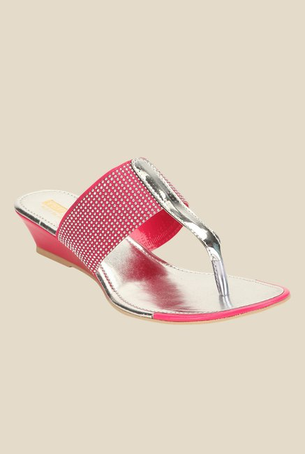 Yepme Pink & Silver T-Strap Wedges