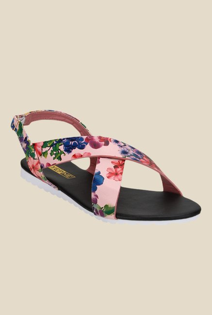 Yepme Pink & Red Back Strap Sandals