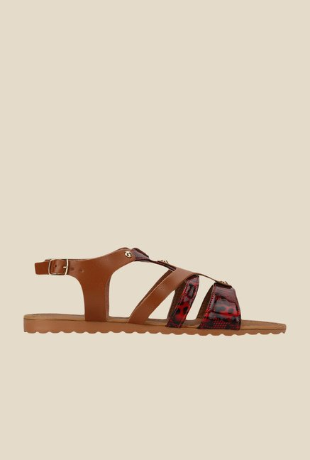 Yepme Brown & Red Back Strap Sandals