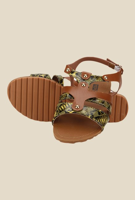 Yepme Brown & Yellow Back Strap Sandals