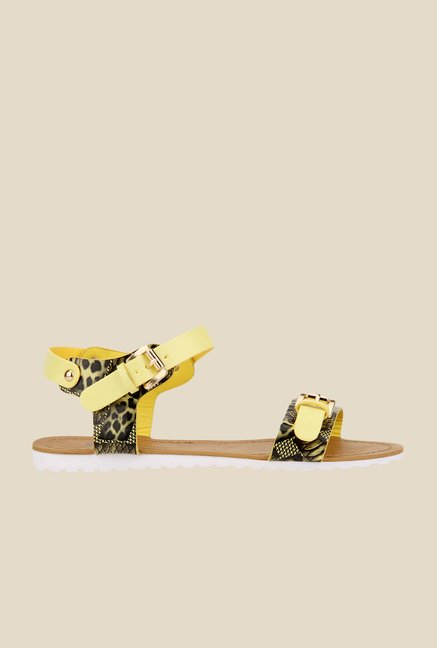 Yepme Yellow & Black Ankle Strap Sandals