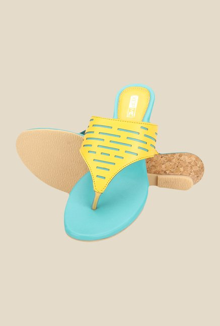 Yepme Yellow & Blue Wedge Heeled Thong Sandals