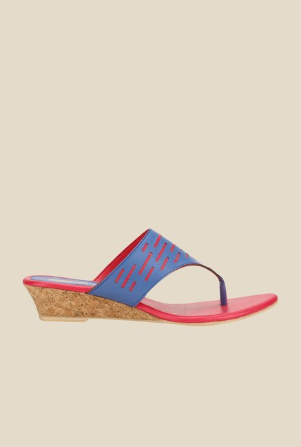 Yepme Navy & Red Wedge Heeled Thong Sandals