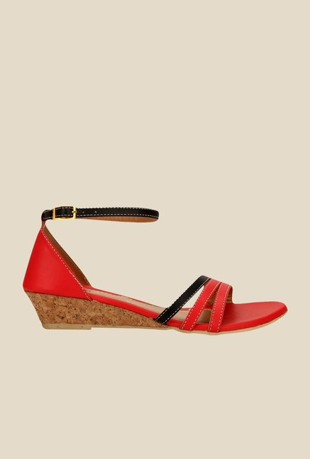 Yepme Red & Black Ankle Strap Wedges