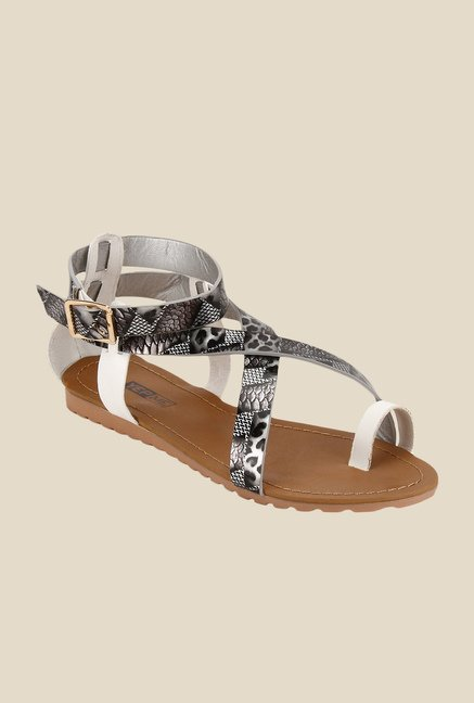 Yepme Silver & Black Ankle Strap Sandals