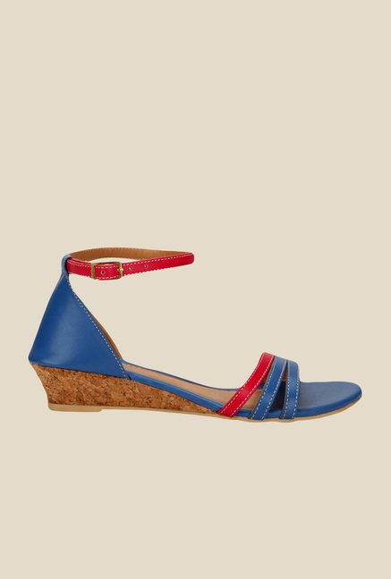Yepme Navy & Red Ankle Strap Wedges