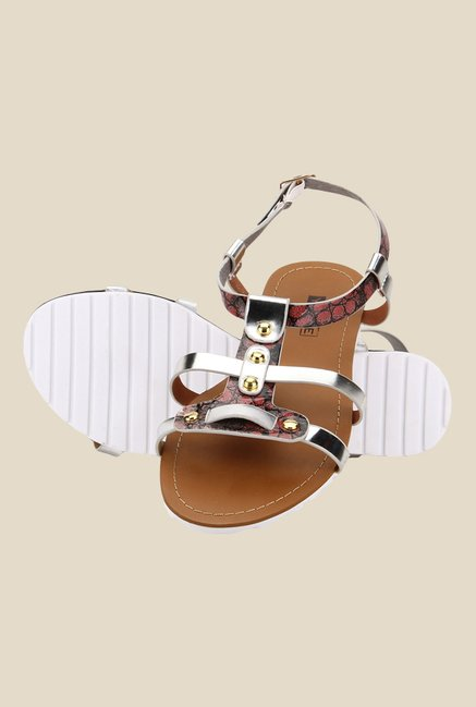 Yepme Silver & Brown Ankle Strap Sandals