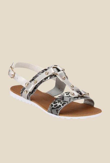 Yepme Silver & Black Back Strap Sandals