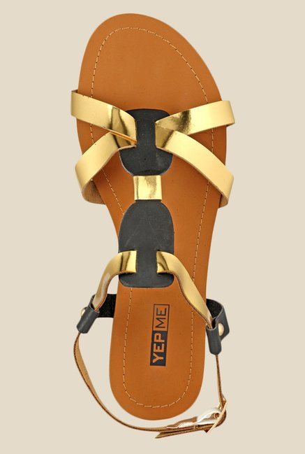 Yepme Golden & Black Back Strap Sandals