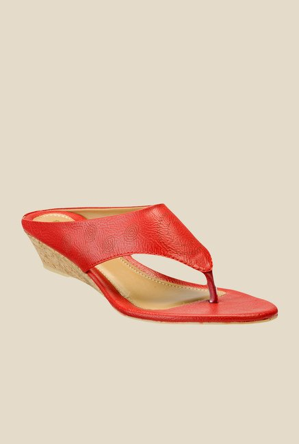 Yepme Red Wedge Heeled Thong Sandals