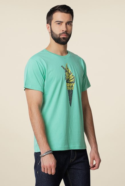 Yepme Hppy End'G Green Graphic Print T Shirt