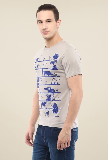 Yepme Grey Eco Ladder Printed T Shirt