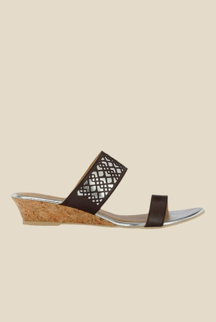 Yepme Brown Wedge Heeled Sandals