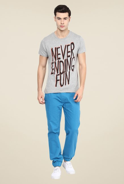 Yepme Never Ending Fun Grey Graphic Print T Shirt