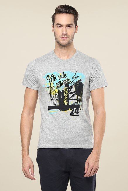 Yepme We Rule The Streets Grey Graphic Print T Shirt