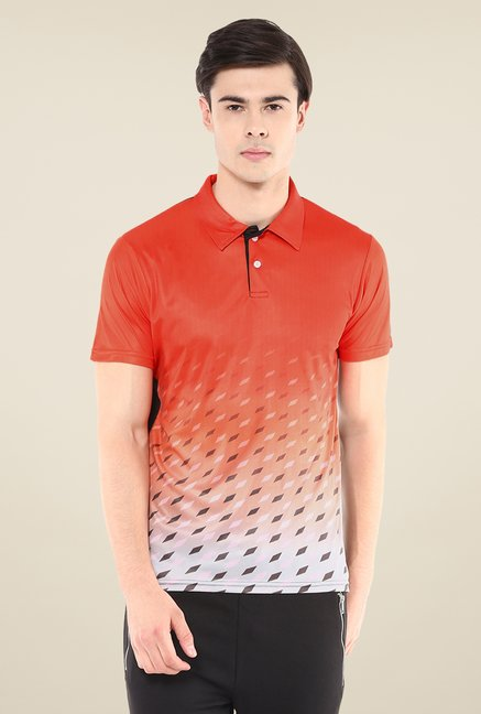 Yepme Orange Issac Graded Grids Printed Polo T Shirt