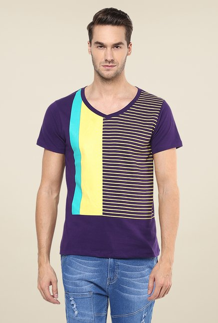 Yepme Purple Block Striped T Shirt