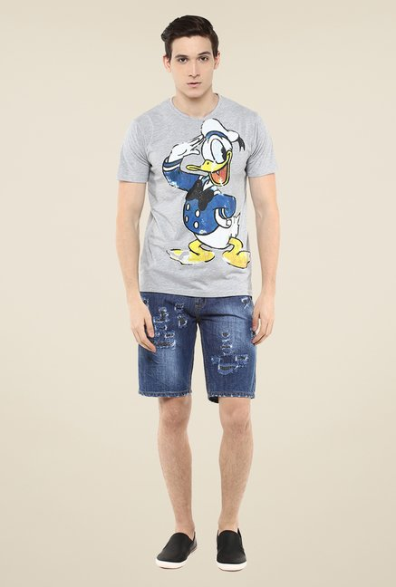 Yepme Disney Donald Salute Grey Graphic Print T Shirt