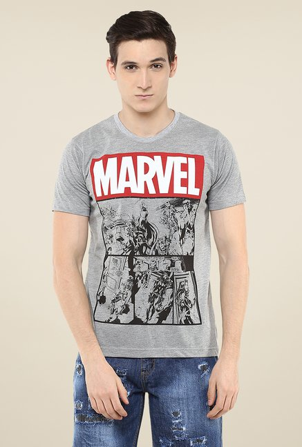 Yepme Marvel Logo Grey Graphic Print T Shirt