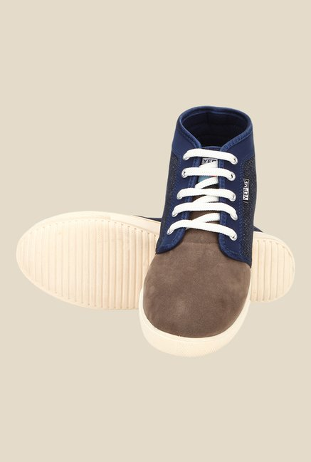 Yepme Navy & Brown Ankle High Sneakers
