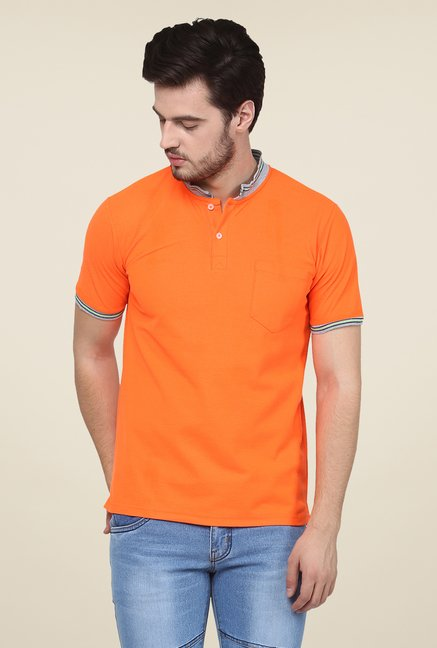 Yepme Orange Dean Premium Solid T Shirt