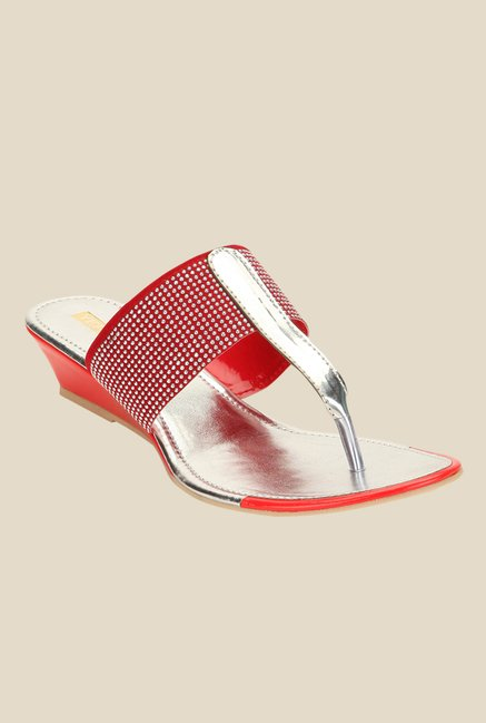 Yepme Red & Silver T-Strap Wedges