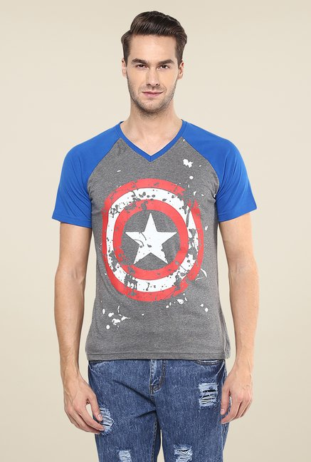 Yepme Marvel Captain America Shield Grey T Shirt