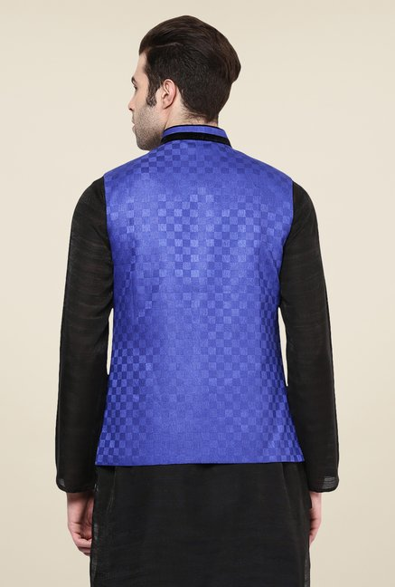 Yepme Blue Alec Self Print Nehru Jacket