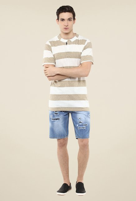 Yepme Beige & White Rolf Striped T Shirt