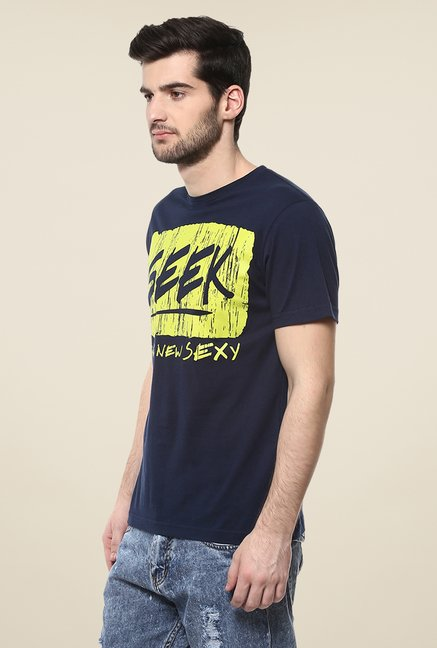 Yepme Geek Navy Graphic Print T Shirt