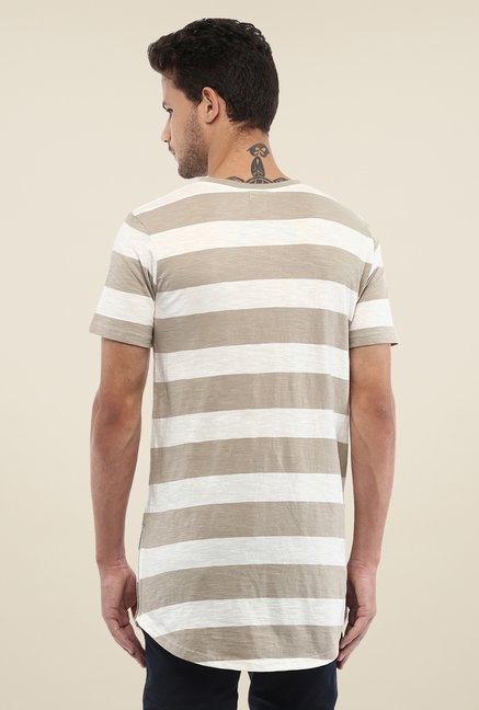 Yepme Beige & White Nick Longline Striped T Shirt