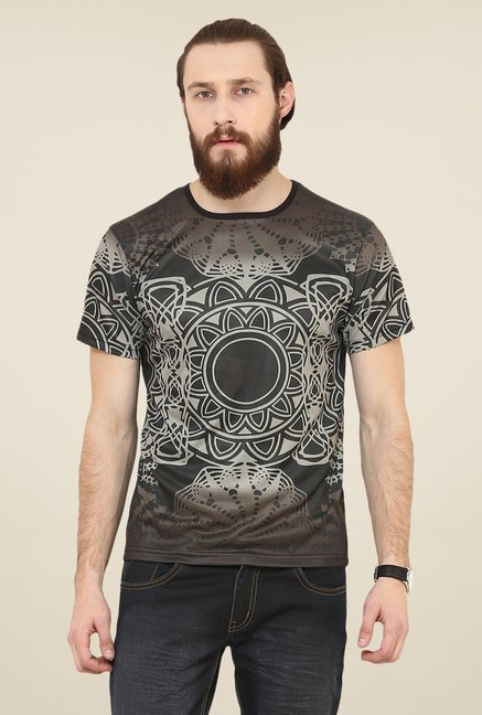 Yepme Brown Lotus Digital Print T Shirt