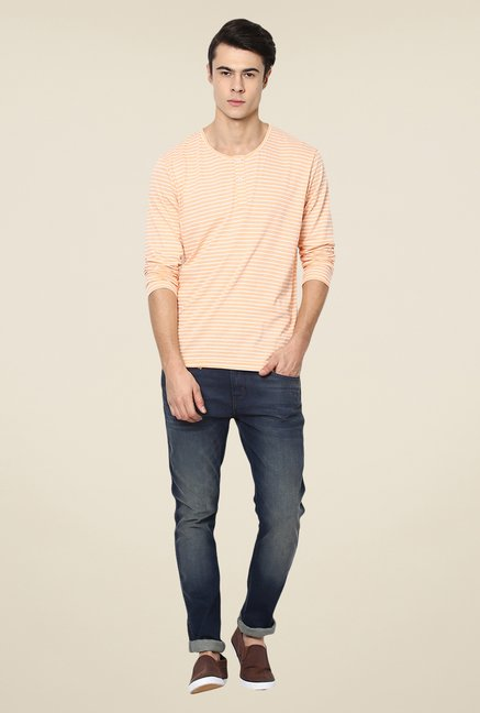 Yepme Peach Luca Striped T Shirt