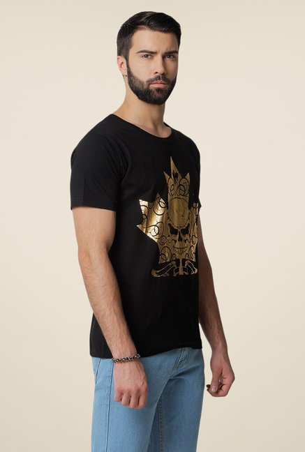 Yepme Mapple Leaf Black Graphic Print T Shirt