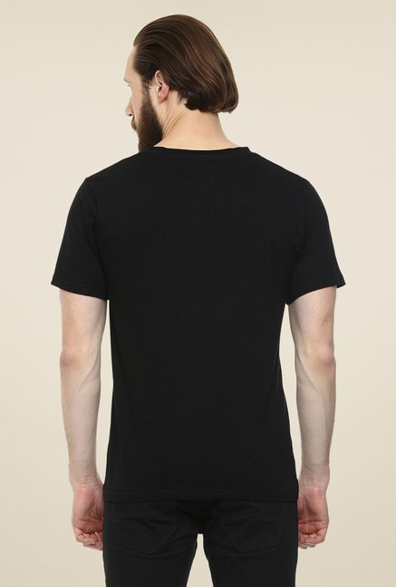 Yepme Triangle Grid Black Graphic Print T Shirt