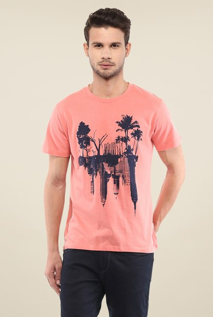 Yepme Mirrored Landscape Coral Graphic Print T Shirt
