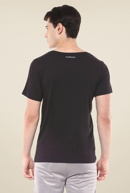 Yepme Black Lee High Performance Printed T Shirt