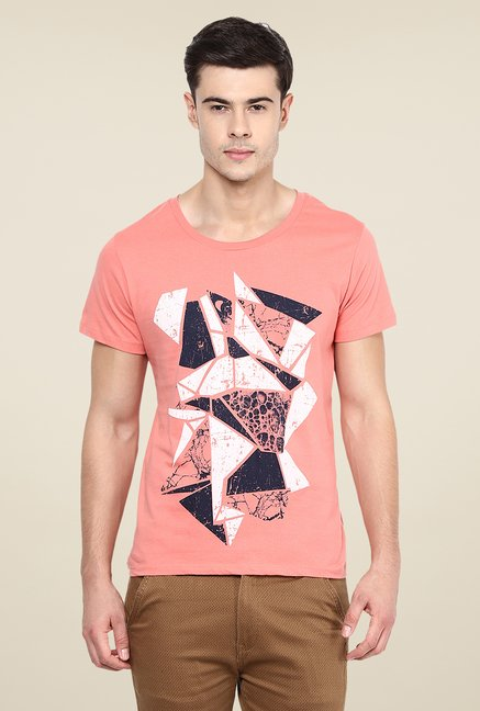Yepme Broken Blocks Coral Graphic Print T Shirt