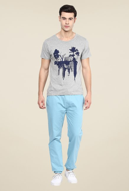 Yepme Mirrored Landscape Grey Graphic Print T Shirt