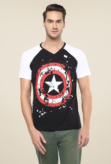 Yepme Marvel Captain America Shield Black Printed T Shirt