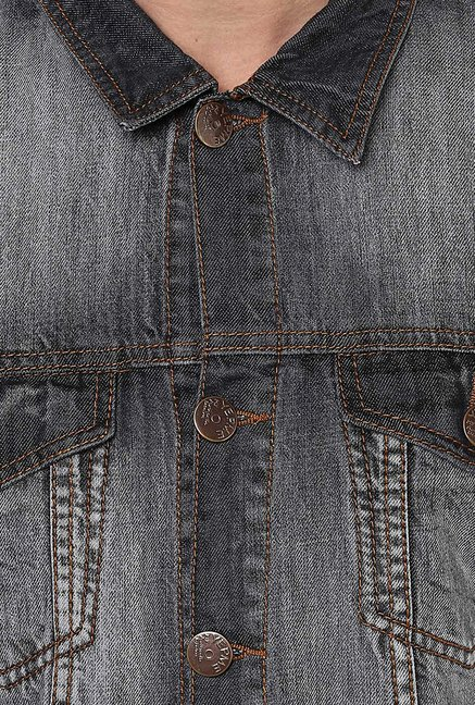Yepme Grey Alfredo Solid Denim Jacket