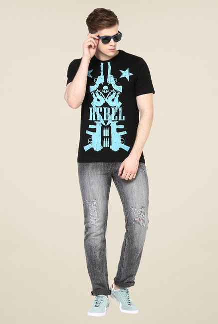 Yepme Love Rebel Black Graphic Print T Shirt