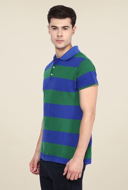 Yepme Dark Blue & Green Brock Striped Polo T Shirt