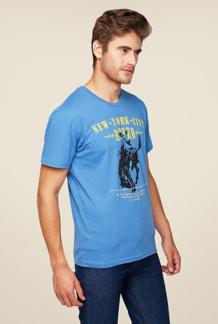 Yepme NYC Rodeo Blue Graphic Print T Shirt