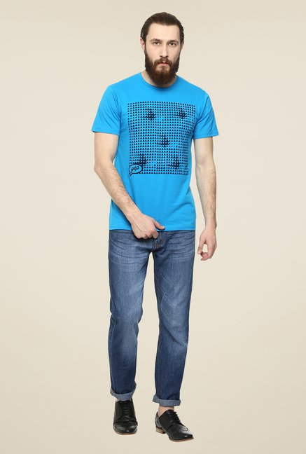 Yepme Triangle Grid Blue Graphic Print T Shirt