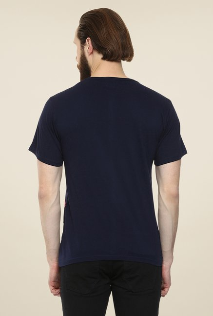 Yepme Navy Urban Matrix Printed T Shirt