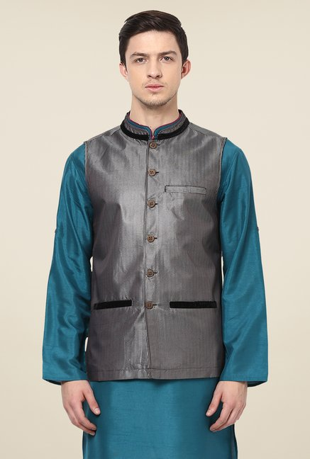 Yepme Black Kevin Striped Nehru Jacket