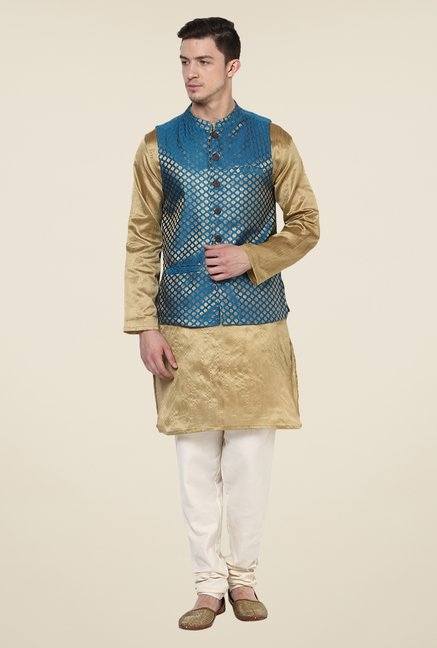 Yepme Blue & Gold Jack Printed Nehru Jacket